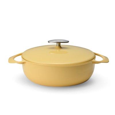 Photo1: Casserole Shallow 24cm Yellow(3.38qt,3.2ℓ)